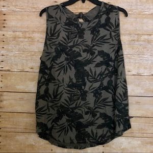 Old Navy Green Palm Print Tank Top With Tie Back